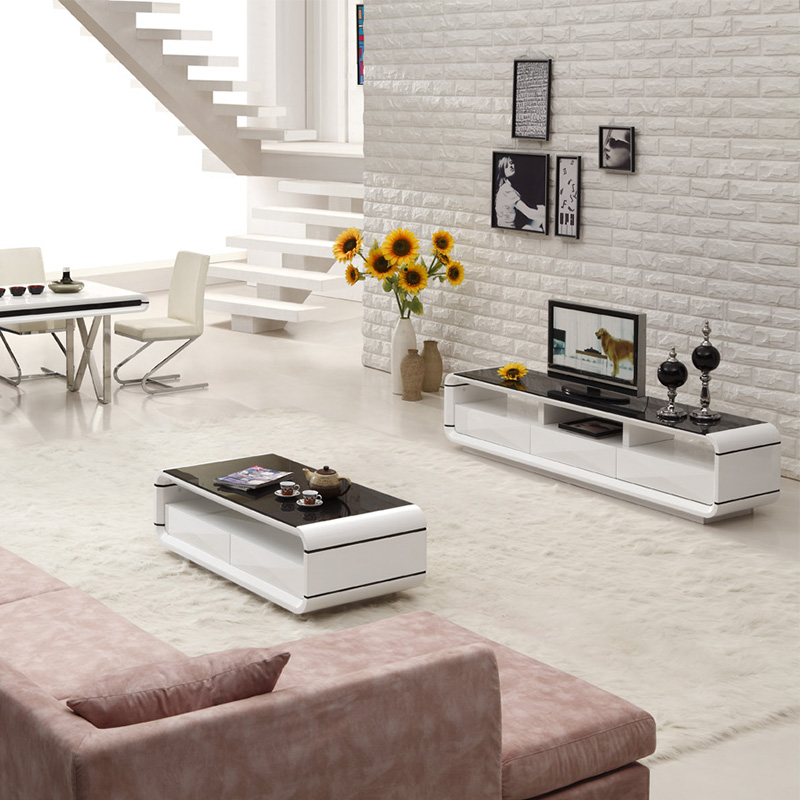 BN DESIGN HIGH GLOSS WHITE COFFEE TABLE AND TV STAND WITH