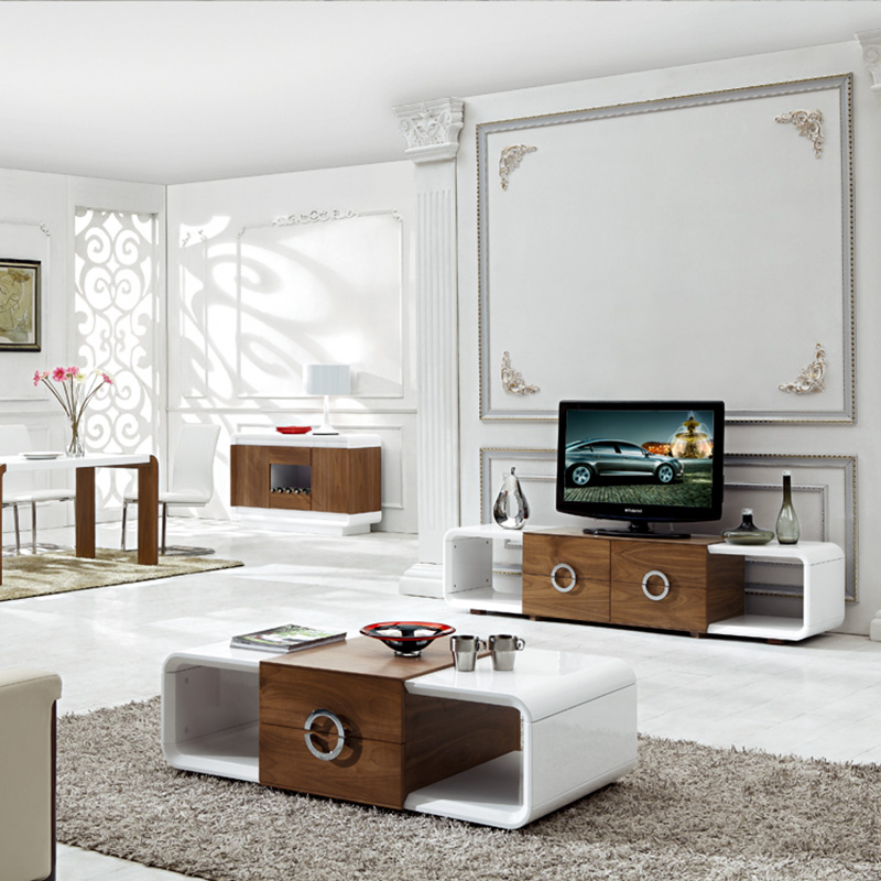 White Gloss Coffee Table Uk: BN HIGH GLOSS WHITE AND WALNUT COFFEE TABLE AND TV STAND