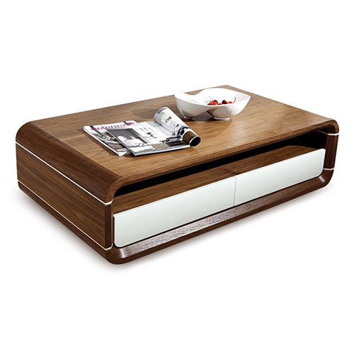 BN DESIGN HIGH GLOSS WHITE AND WALNUT COFFEE TABLE WITH 2