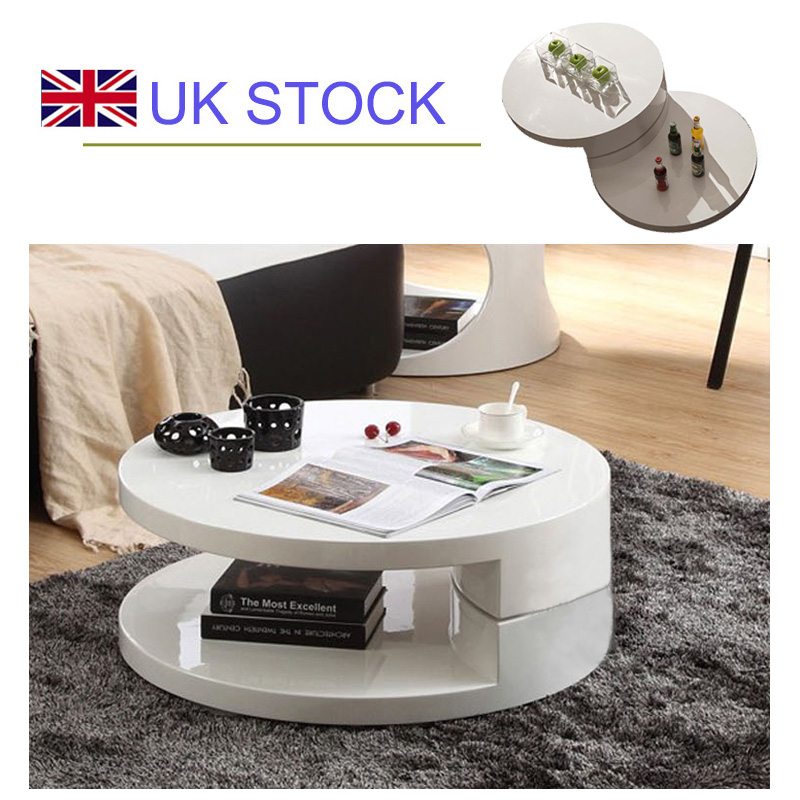 New Design For High Gloss Bed : Details about BN DESIGN HIGH GLOSS WHITE ROUND COFFEE TABLE STORAGE ...