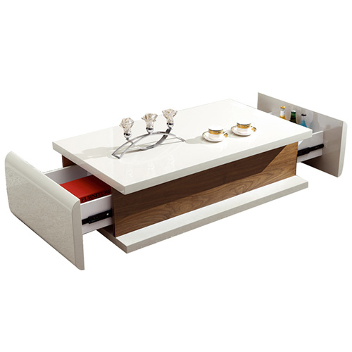 Bn Design High Gloss White And Walnut Coffee Table With 2: BN DESIGN HIGH GLOSS WHITE COFFEE TABLE WITH SIDE DRAWERS