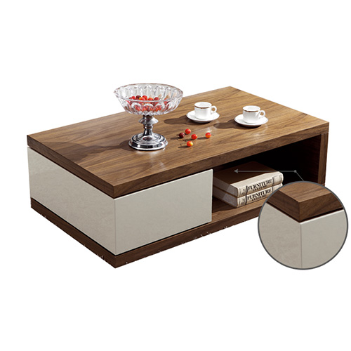 Bn Design High Gloss White And Walnut Coffee Table With Side Drawers Ebay