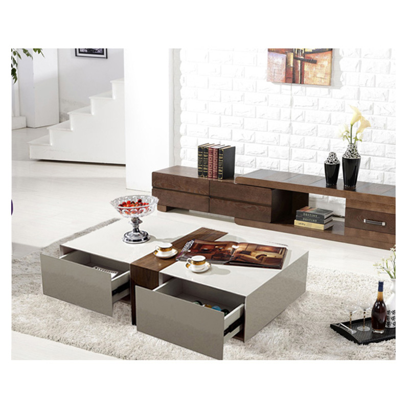 Bn design high gloss white and walnut coffee table with 2 drawers living room ebay Walnut effect living room furniture